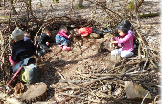 Youngsters enjoying the Secret Garden.