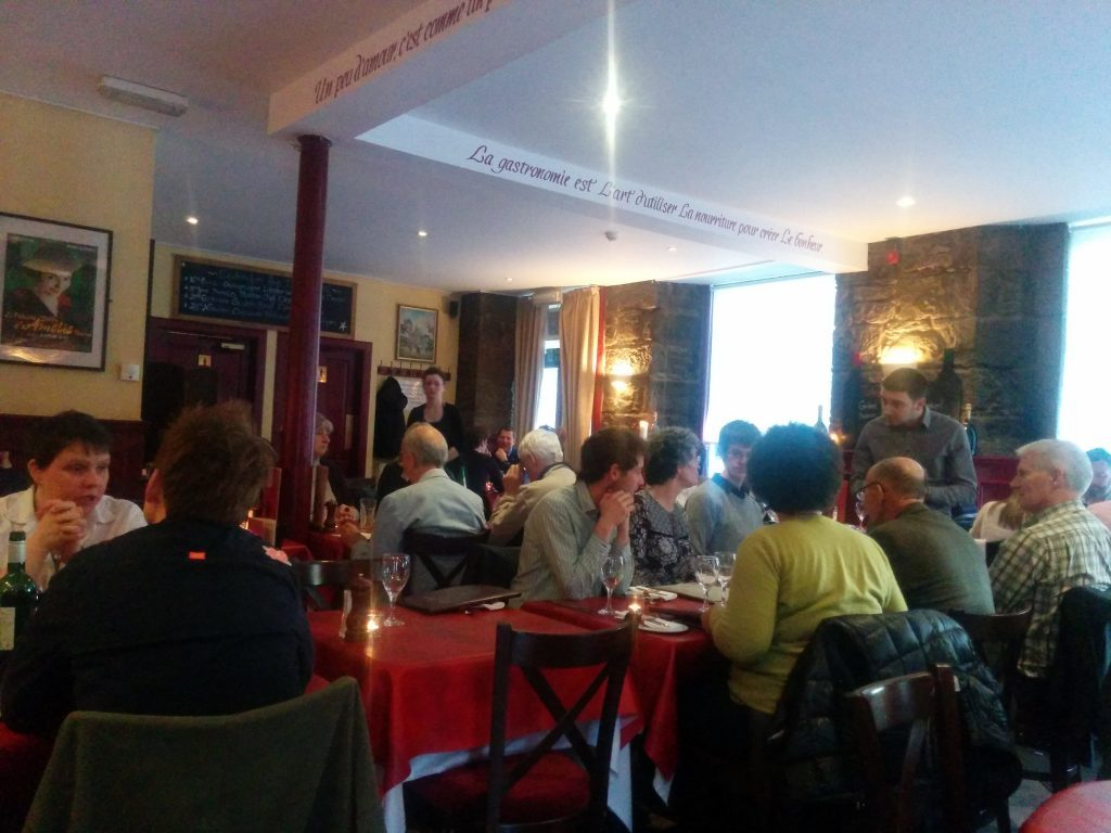 The interior of Cafe Tabou on a busy Saturday evening