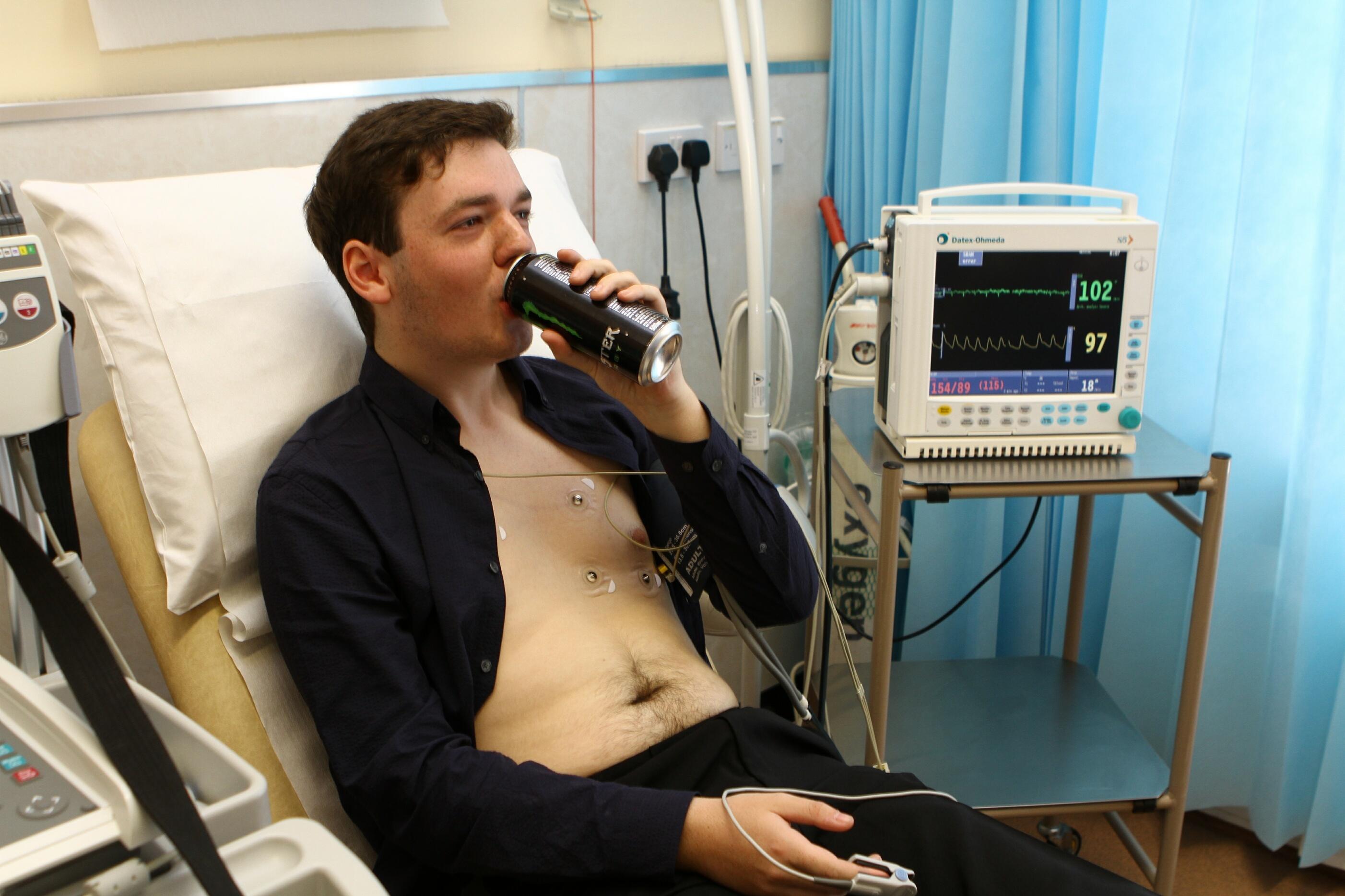 Ciaran Sneddon has an energy drink.