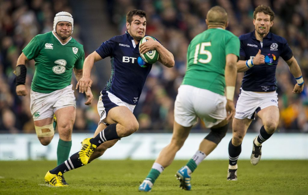 19/03/16 RBS SIX NATIONS IRELAND v SCOTLAND AVIVA STADIUM - DUBLIN Stuart McInally (centre) in action for Scotland