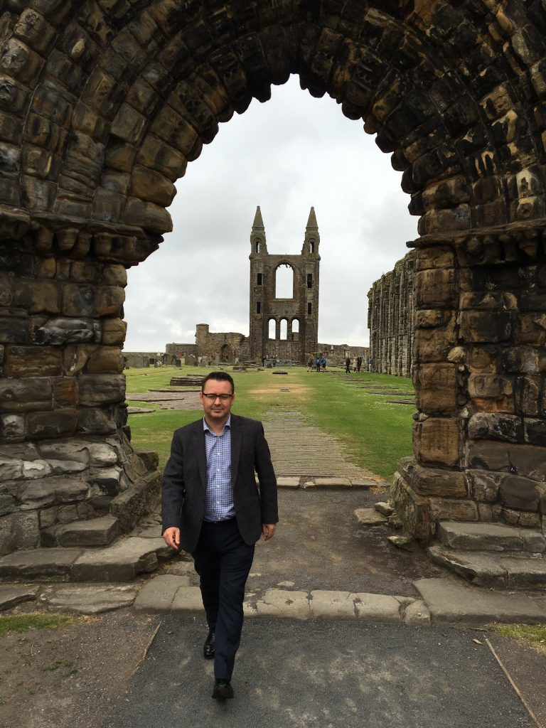 Roger McStravick in St Andrews Cathedral