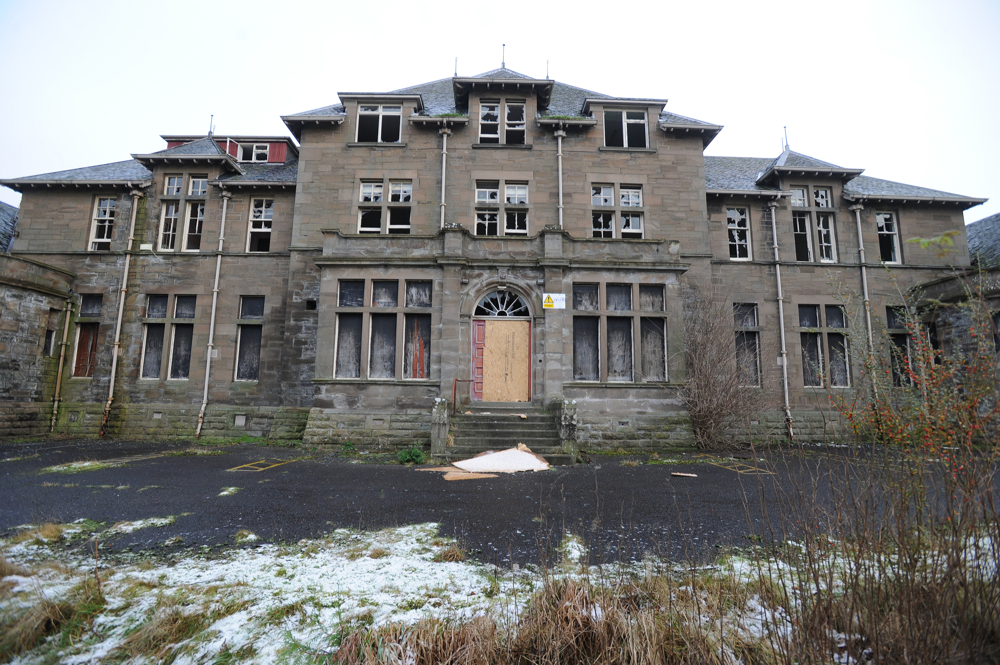 The derelict Strathmartine Hospital.