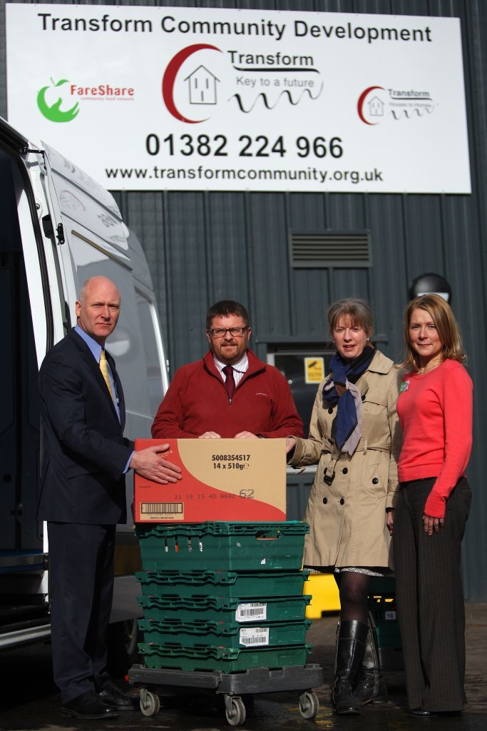 Transform Dundee has been among the beneficiaries. The picture shows L/R, Joe Fitzpatrick MSP, Simon Laidlaw, CEO of Transform, Shona Robison MSP and Asda's Lisa Rooke during a visit a local FareShare depot to see how surplus food is used for good causes.