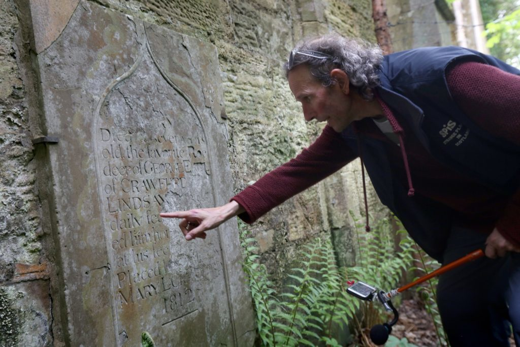 Jag Betty of SPiS finds the gravestone of Lady Mary's beloved deer at Crawford Priory near Cupar.