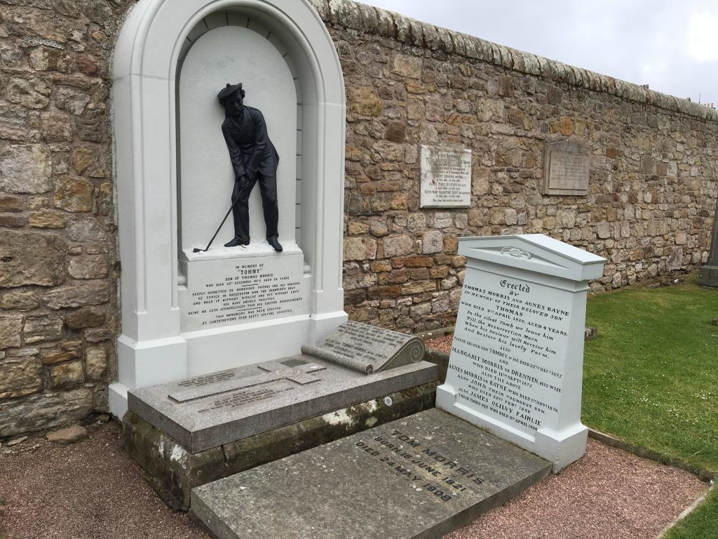 The grave of Old Tom Morris in front of the memorial of Young Tommy Morris. Between them they won the Open Championship eight times
