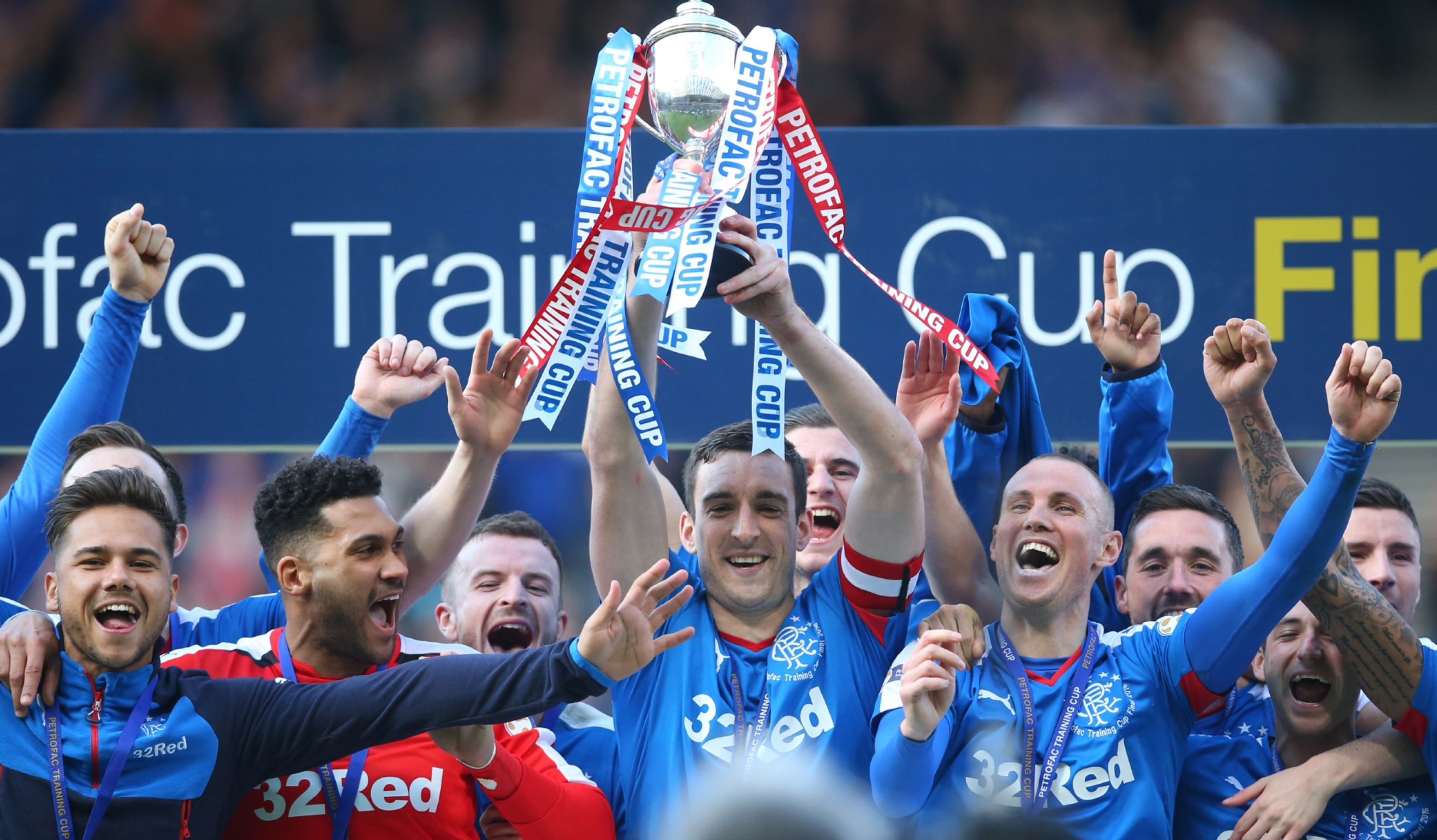 Rangers celebrate after winning last season's Petrofac Cup