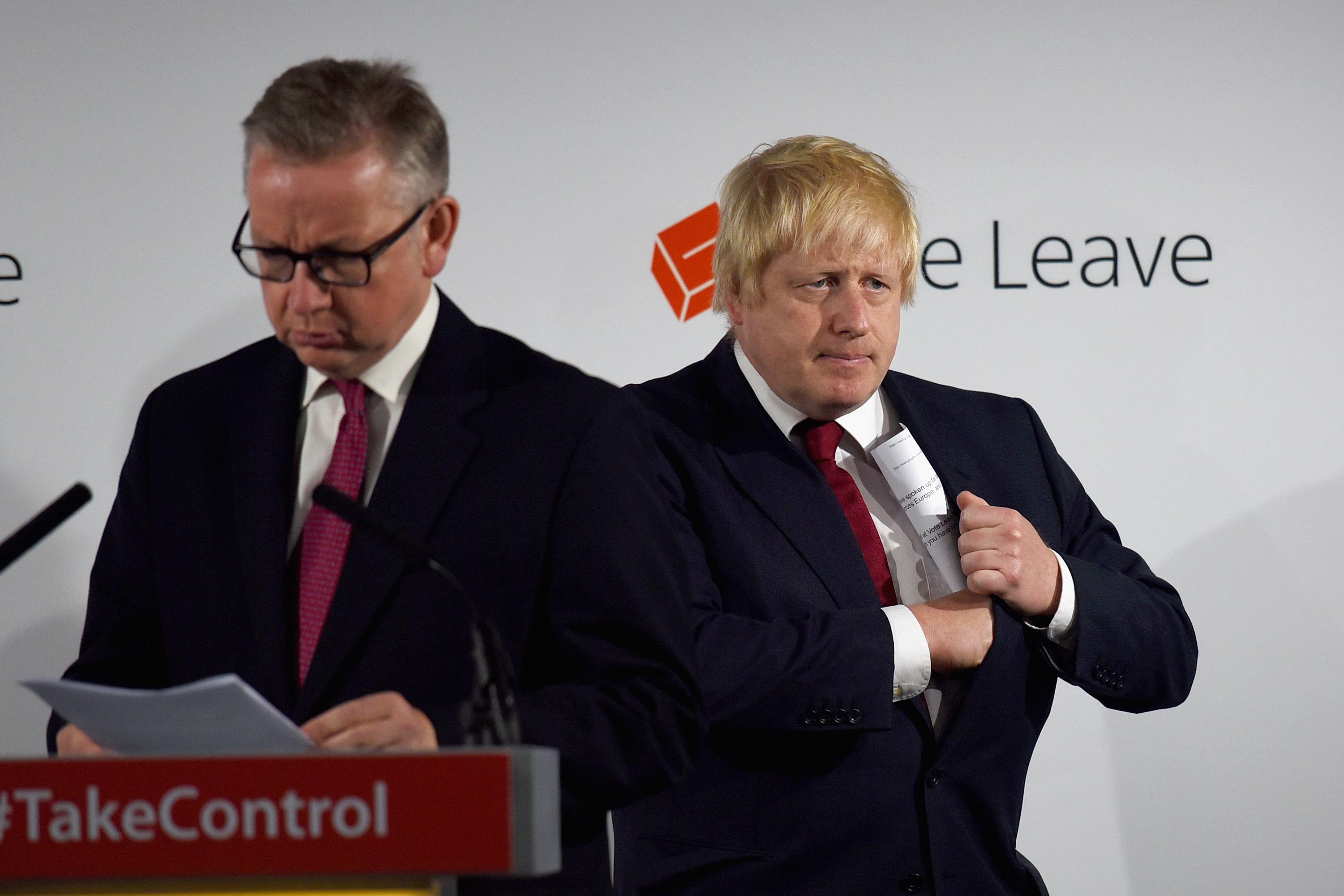 Michael Gove and Boris Johnson at a Vote Leave victory press conference.