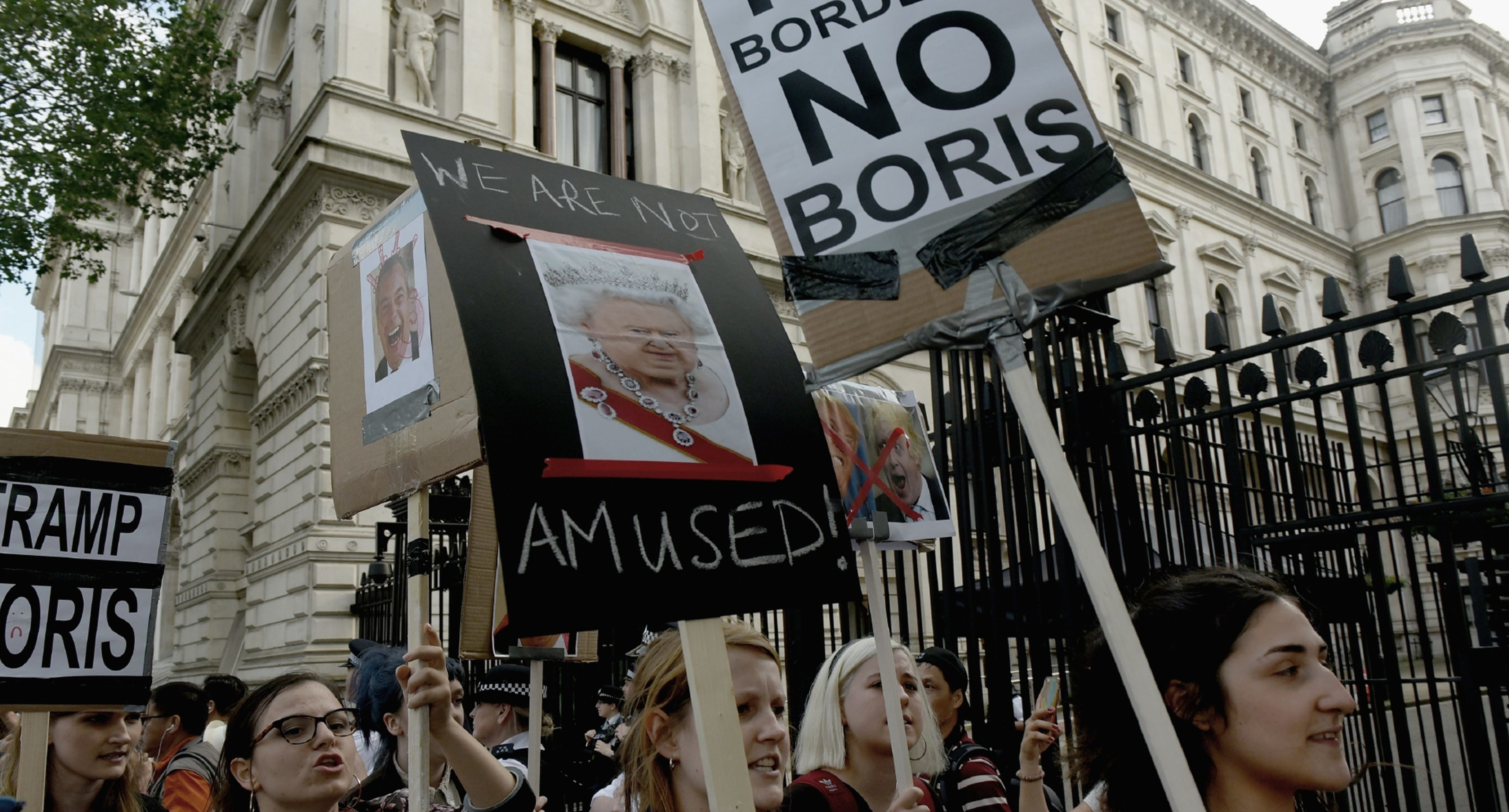 Young protesters demonstrate outside Downing Street.