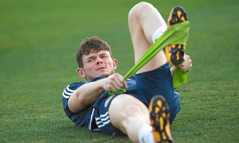 Scotland's Oliver Burke at training.