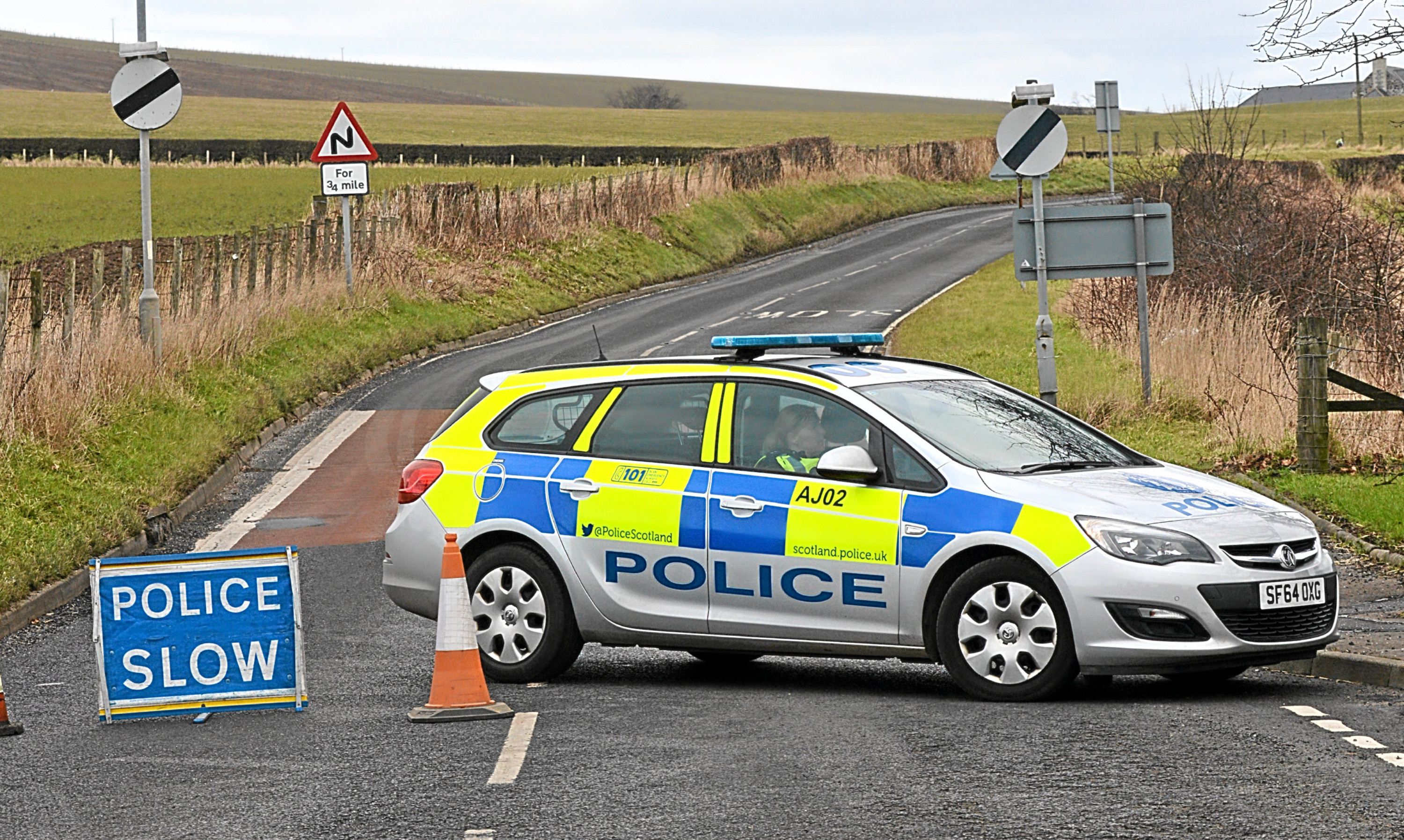 Police on the A915 at Upper Largo