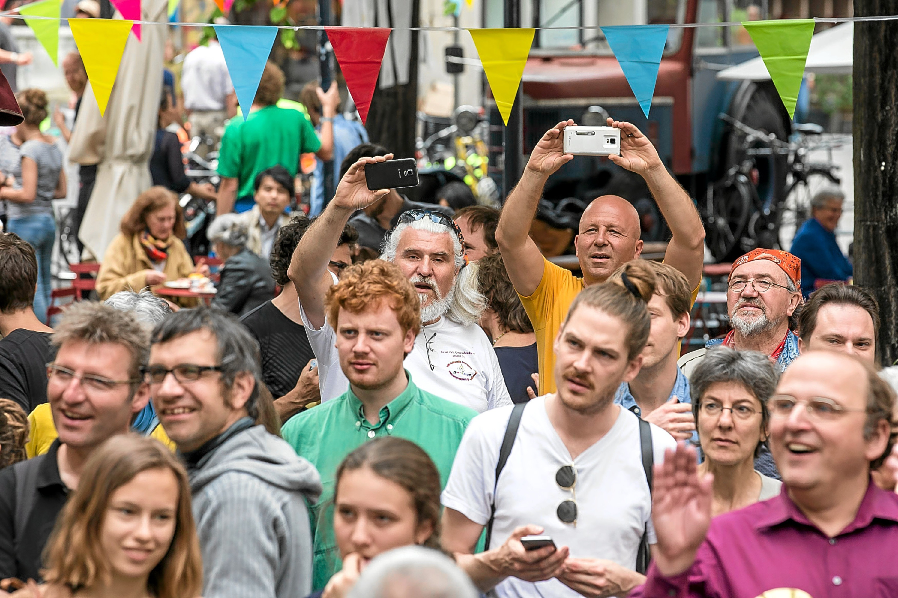 Voters and supporters gather at the get-together of the promoters of the initiative for an unconditional basic income in Basel, Switzerland.