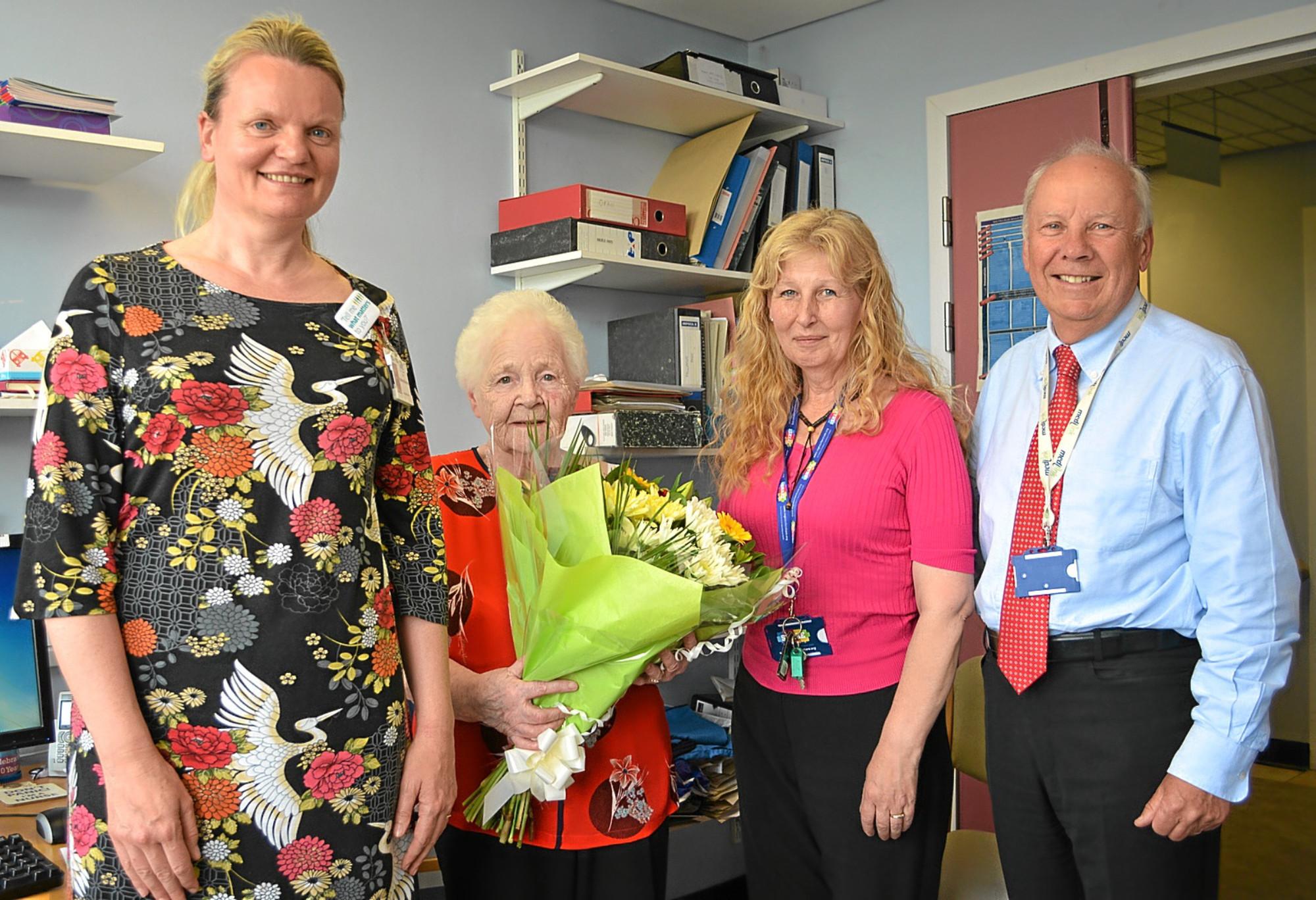 Long serving NHS Fife volunteer Helen Hagan celebrates 90th birthday. Pic shows L-R  Kathryn Brechin, Helen Hagan, Liz Nicol and Allan Burns.
