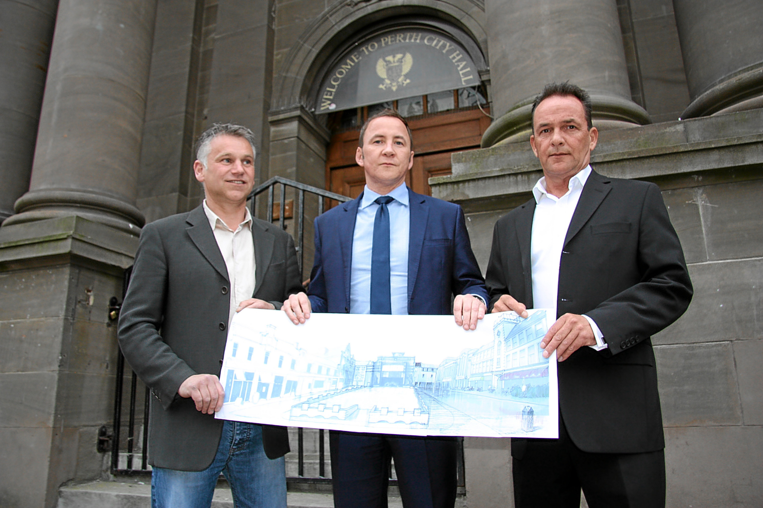 Pic of Simon Horne (left), Derek Petterson and Brian Cavellini who drew up their own plan for City Hall. Also an artist's impression of their plan for a retained City Hall and civic square.