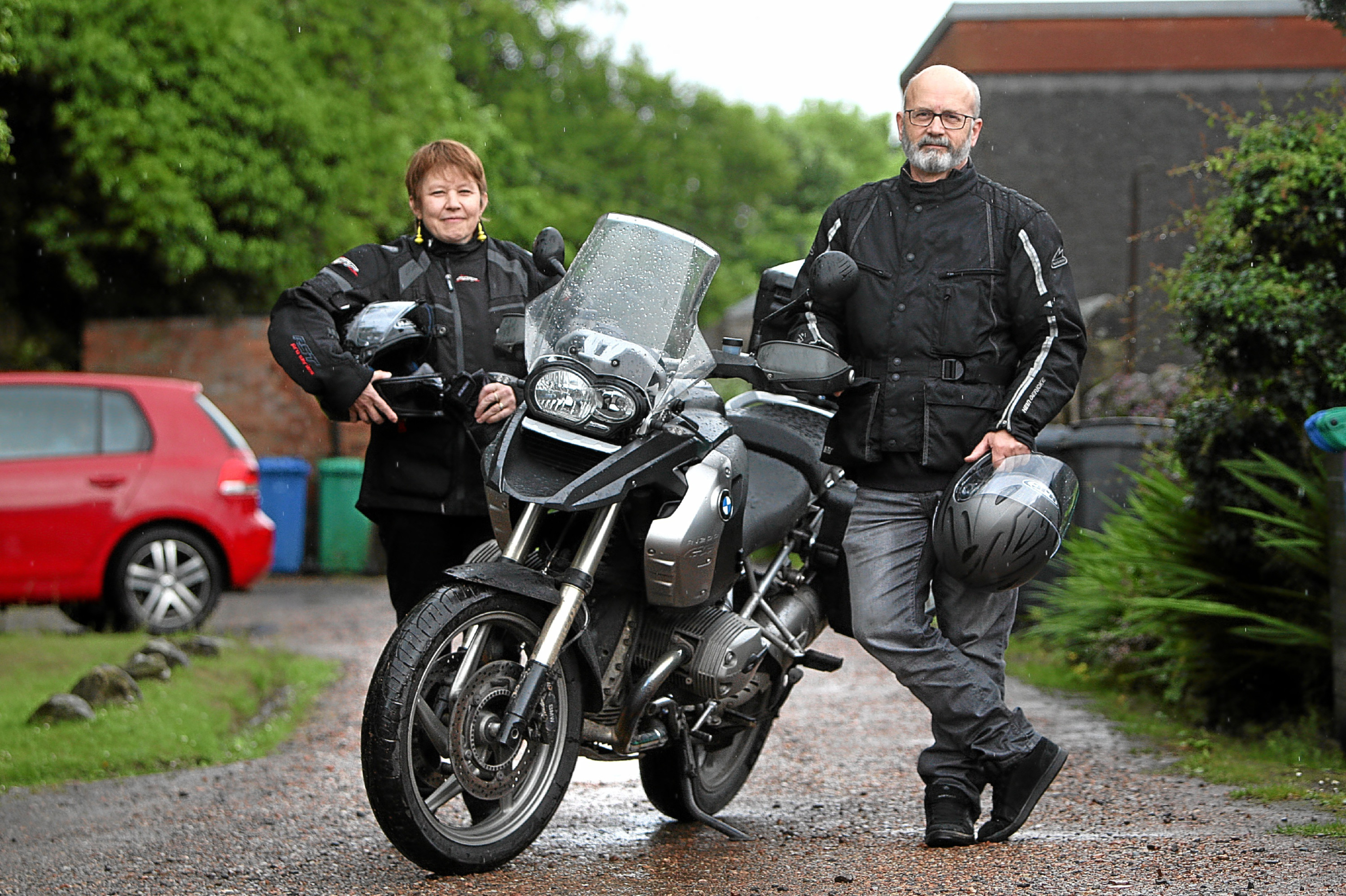 Calum and Liddy Laird, who are setting off on a trip of 1,041 miles to the four corners of Scotland by motorbike to raise funds for the Uphill Trust in Uganda.