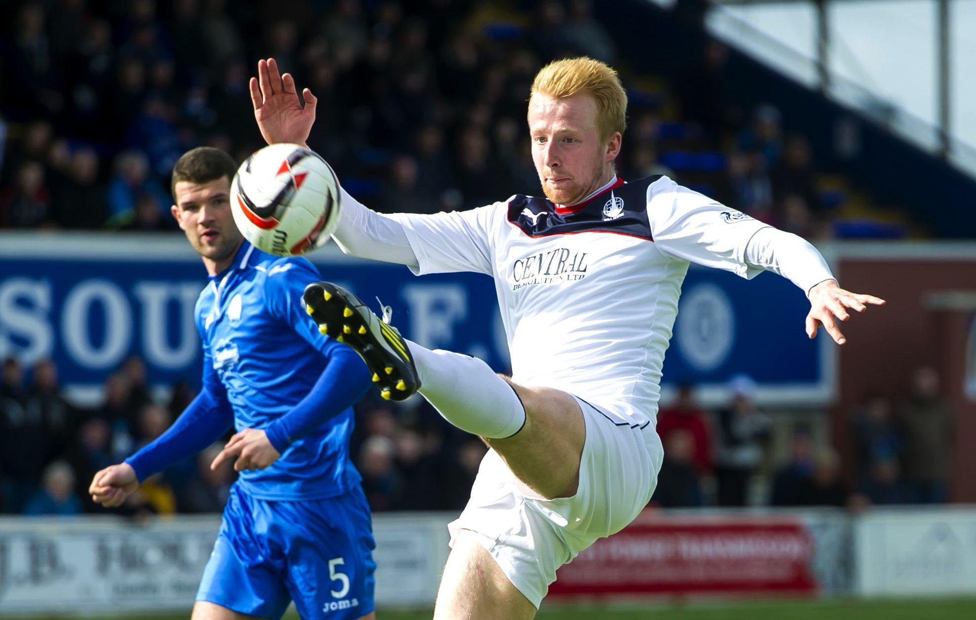 Mark Beck in action for Falkirk.