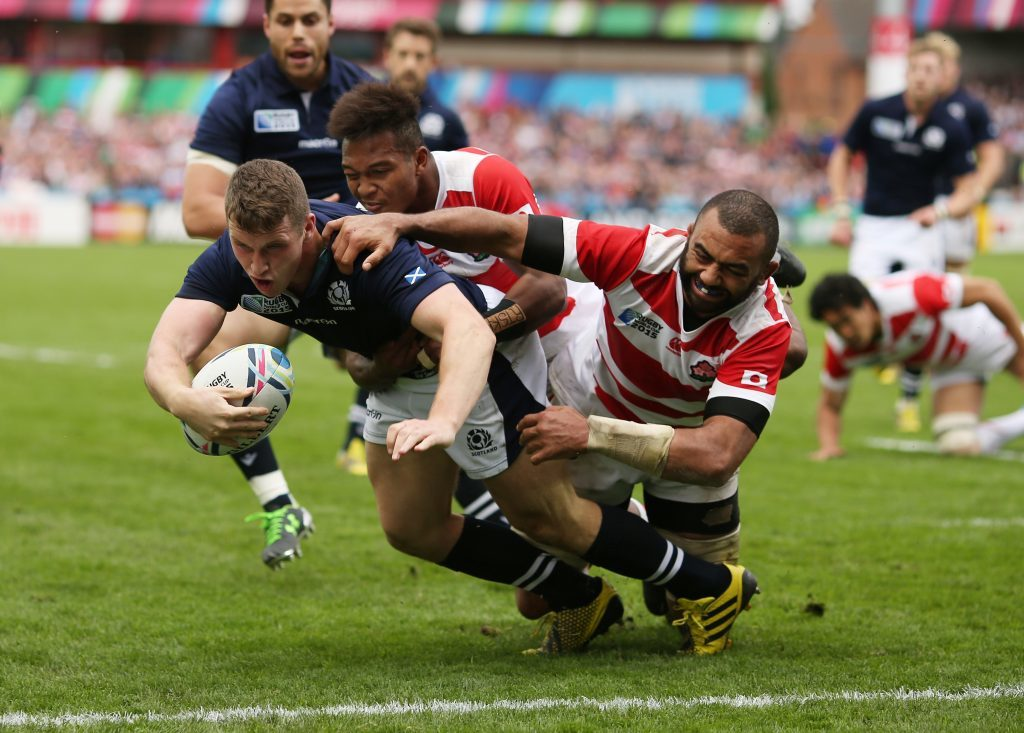 during the 2015 Rugby World Cup Pool B match between Scotland and Japan at Kingsholm Stadium on September 23, 2015 in Gloucester, United Kingdom.