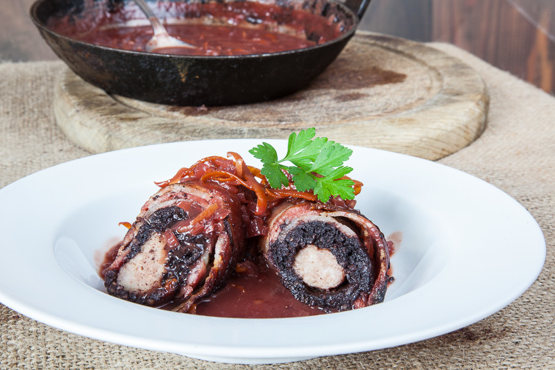 Black Pudding Olives with a Port Redcurrant Sauce