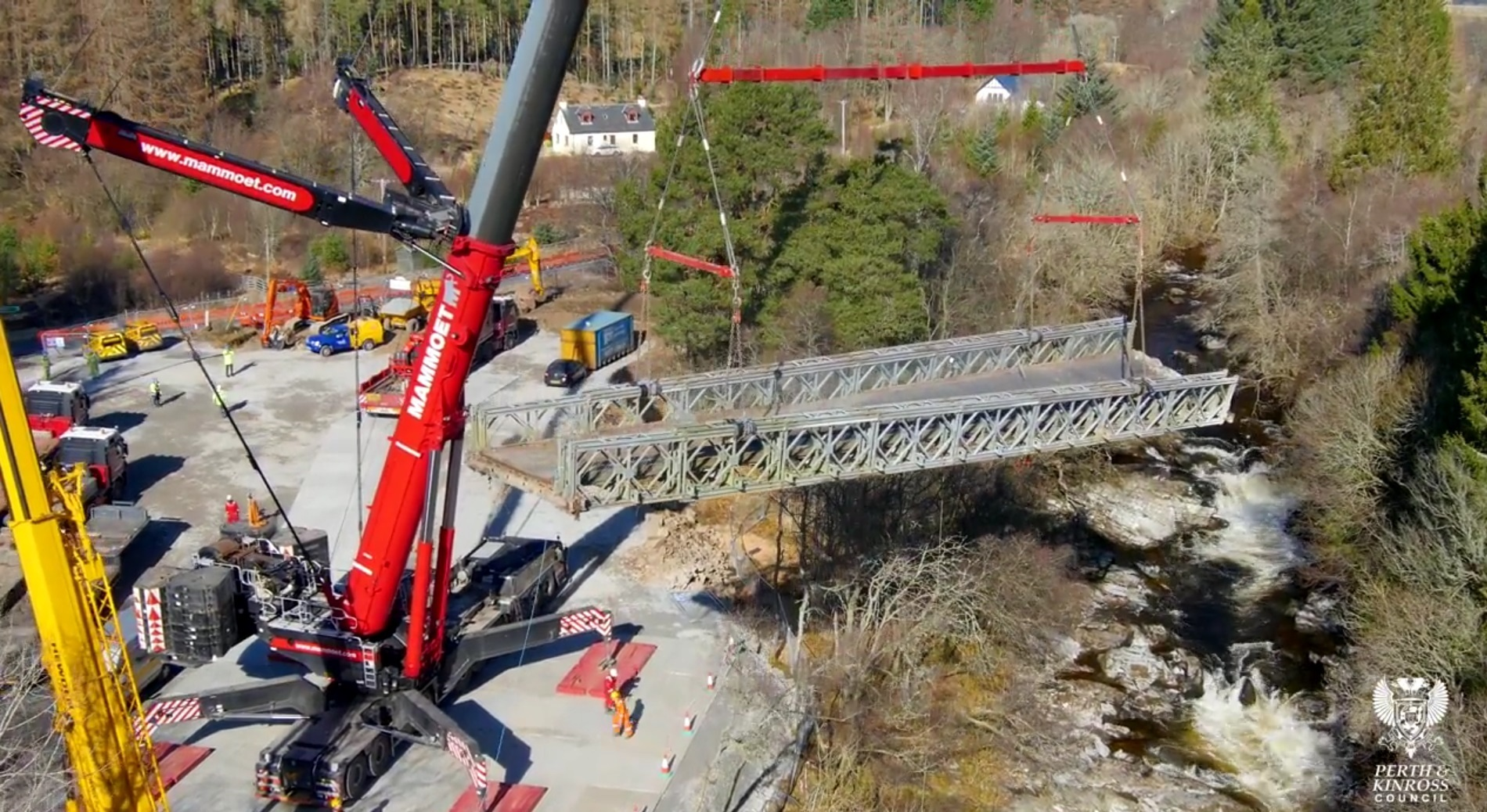 Bleaton Hallet bridge being removed by crane in March.