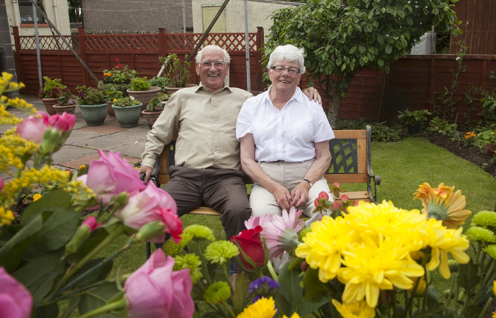 Chelsea Flower Show competition winner Marjorie Prophet and husband Neil pictured in their garden at home in Forfar.