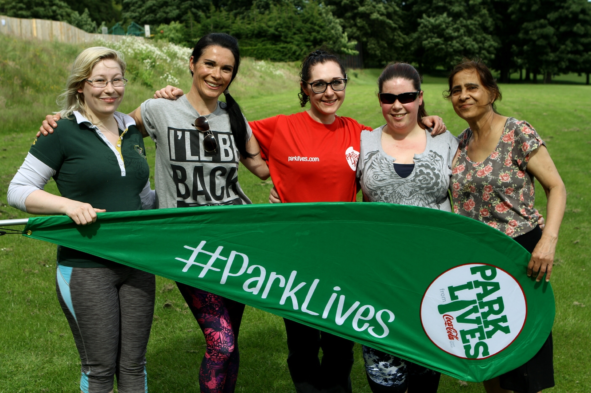 """Gayle Ritchie (second from left) takes part in a """"flow and tone"""" ParkLives session in Dundee."""
