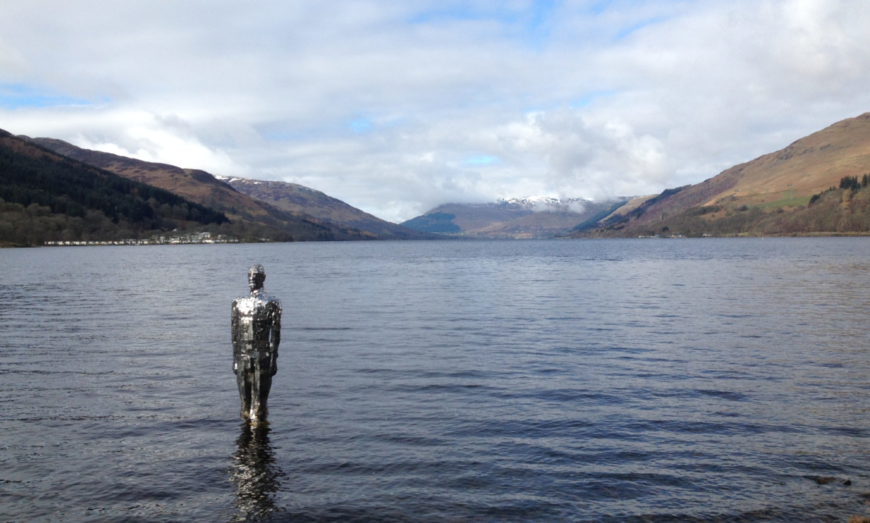 "Loch Earn's ""mirror man"" art installation by Rob Mulholland."