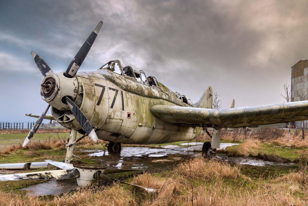 Fairey Gannet, an abandoned Royal Navy aircraft at Errol airfield.
