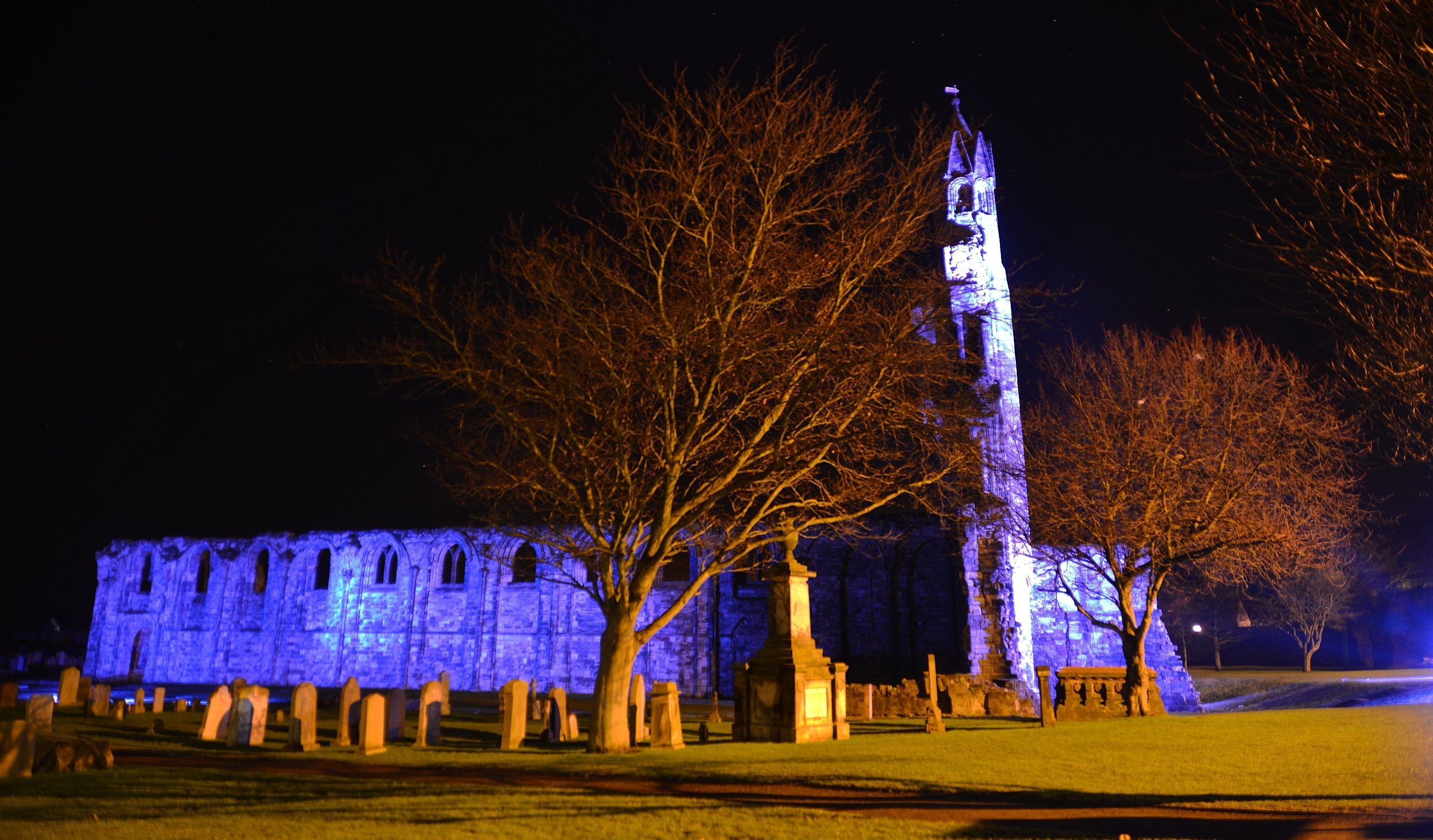 St Andrews Cathedral during a recent demonstration of the proposed lighting system.
