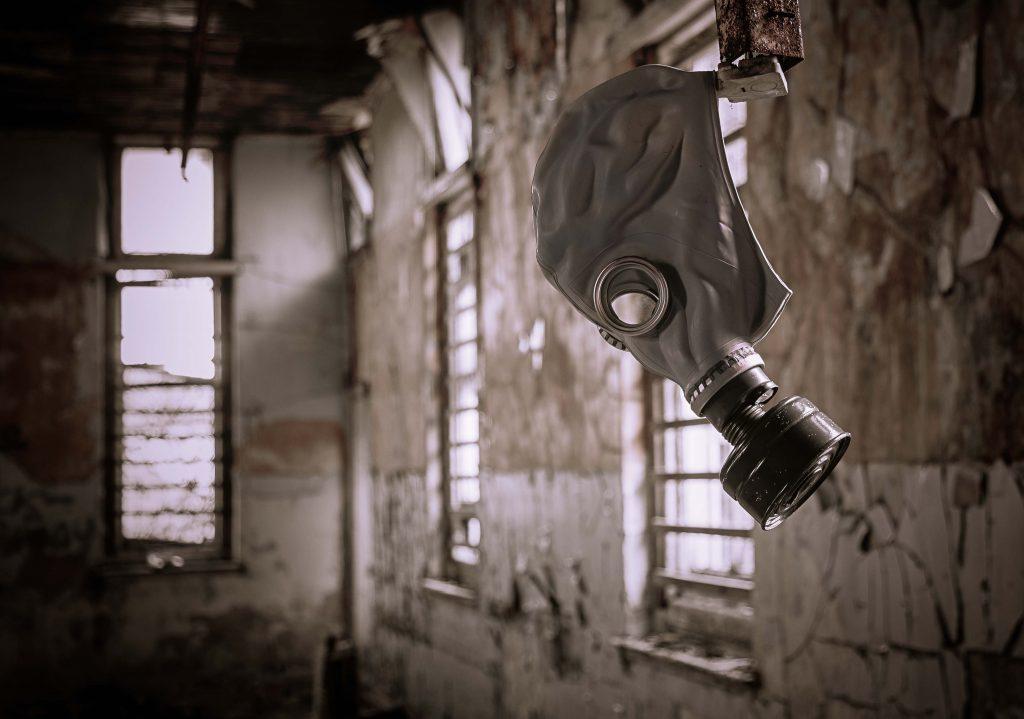 Gas mask at Thornton Fever Hospital, Fife.