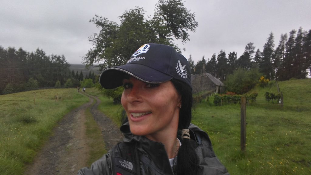 Gayle yomping in the rain.