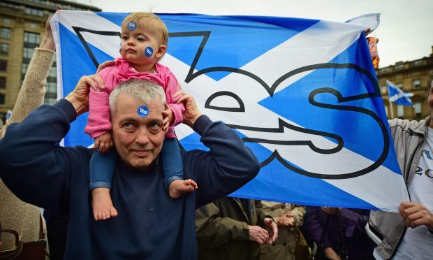 Yes supporters in George Square.