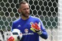 Alan Mannus trains with the Northern Ireland squad in France.