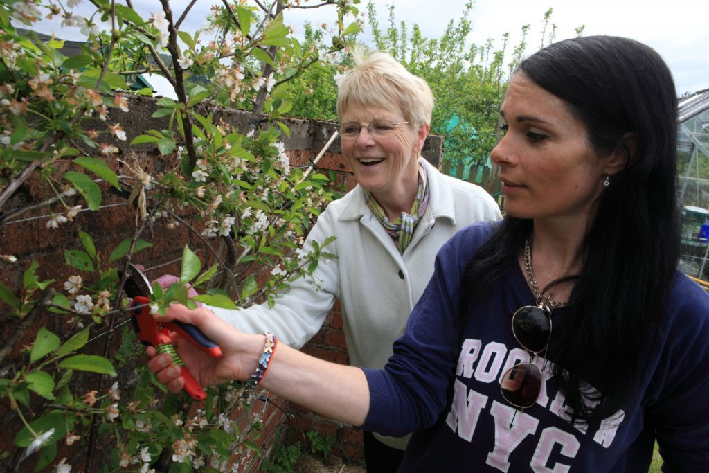 Dot Dahl shows Gayle Ritchie how to prune.
