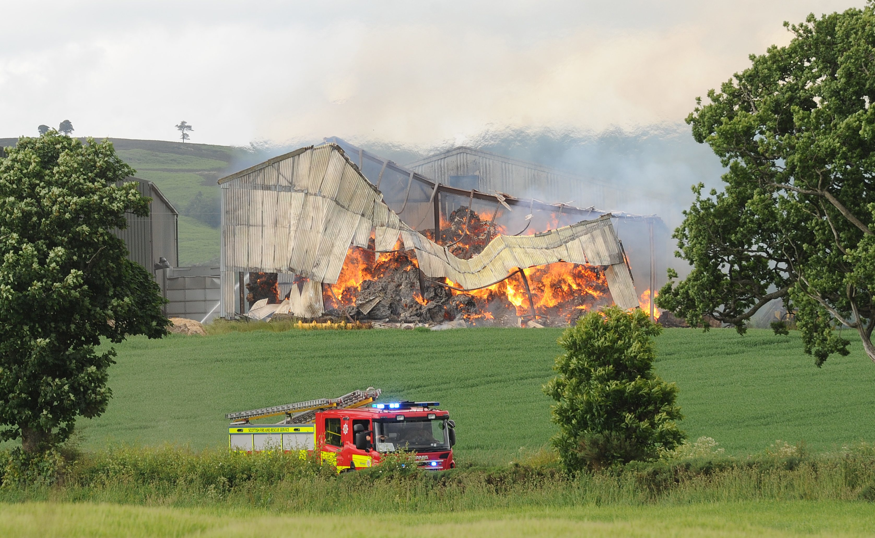 A hay shed went on fire at Belstane Farm near Bankfoot.