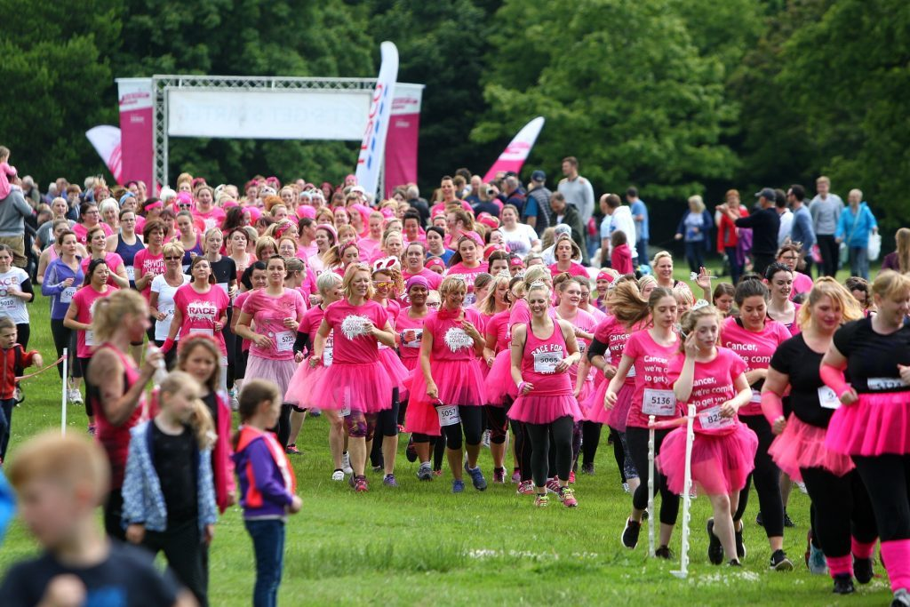 Camperdown Park is turned into a sea of pink during the annual Race for Life Dundee and Pretty Mudder events.