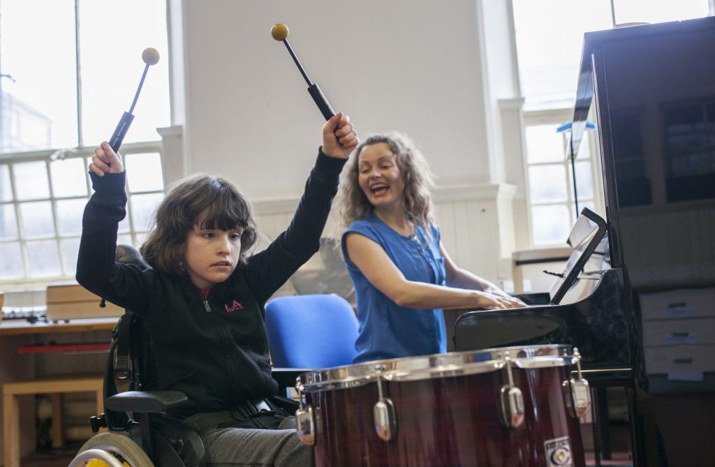 Nordoff Robbins music therapists give children with autism the chance to express themselves