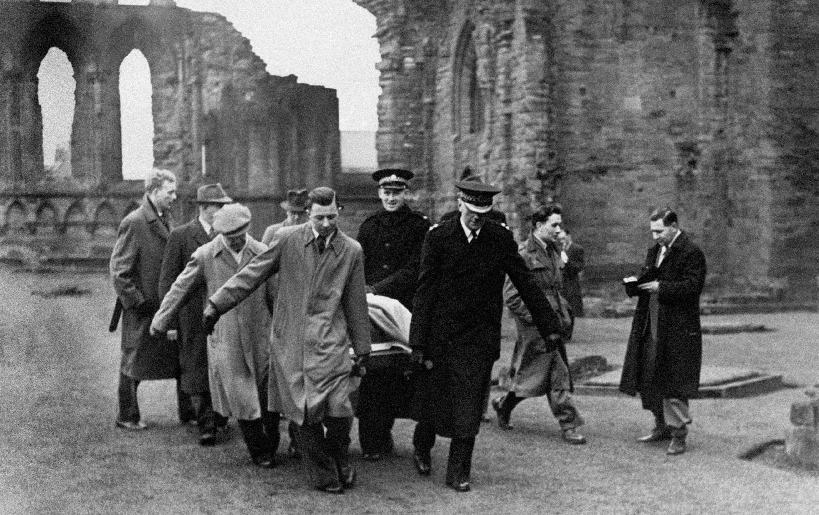 The Stone of Destiny being removed from Arbroath Abbey where it was found following its disappearance from Westminster Abbey in 1950 but could it be on the move again?