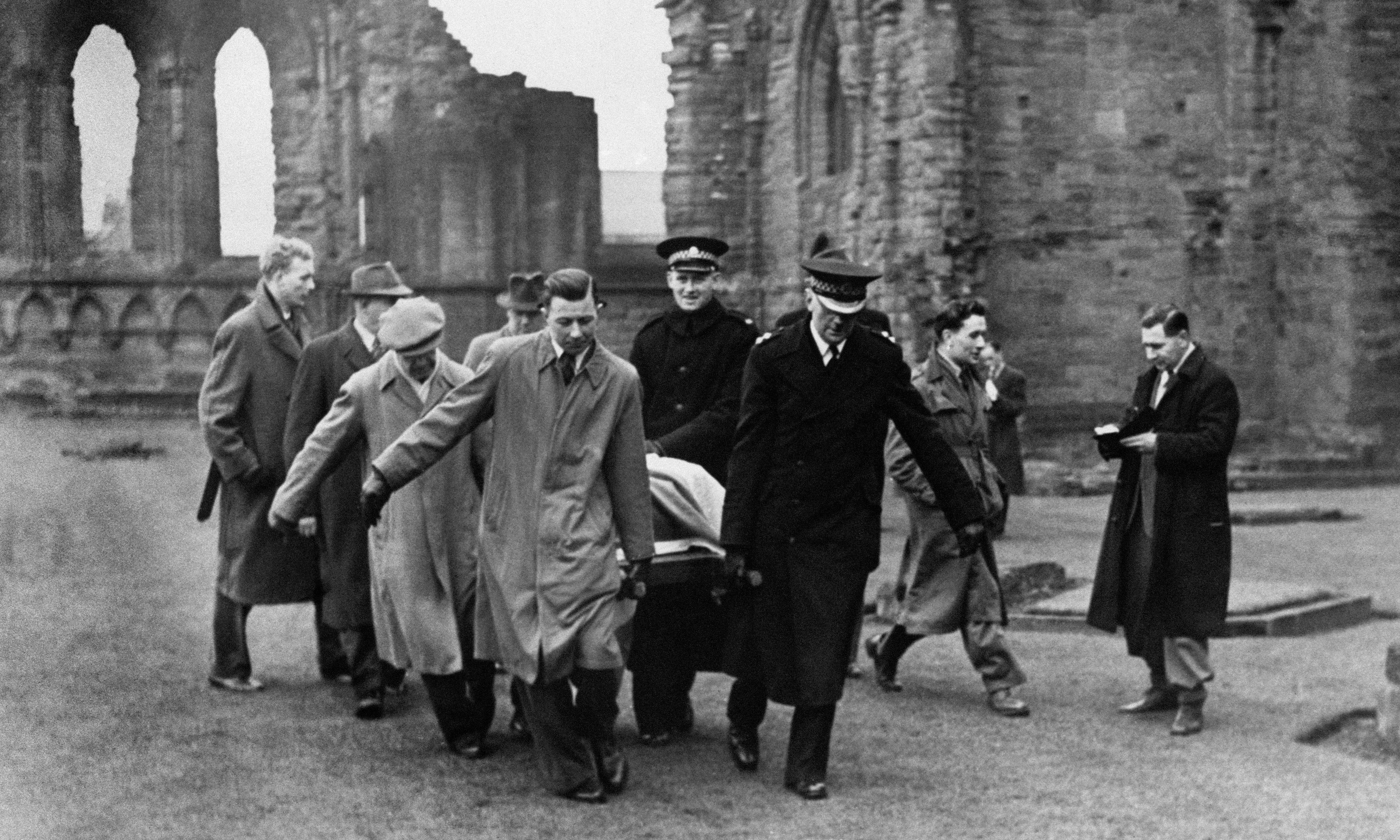 The Stone of Scone being removed from Abroath Abbey in 1951.