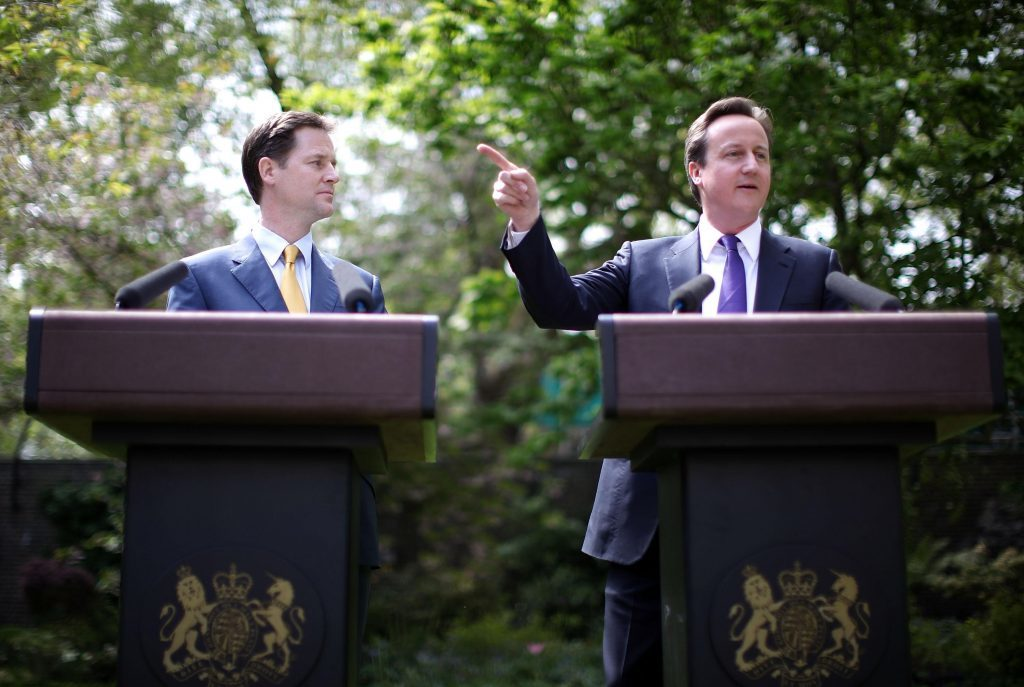 File photo dated 12/05/10 of Prime Minister David Cameron (right) with Deputy Prime Minister Nick Clegg, as Mr Cameron announced he will quit as Prime Minister by October after a humiliating defeat in the referendum which ended with a vote for Britain to leave the European Union. PRESS ASSOCIATION Photo. Issue date: Friday June 24, 2016. See PA story POLITICS EU. Photo credit should read: Christopher Furlong/PA Wire