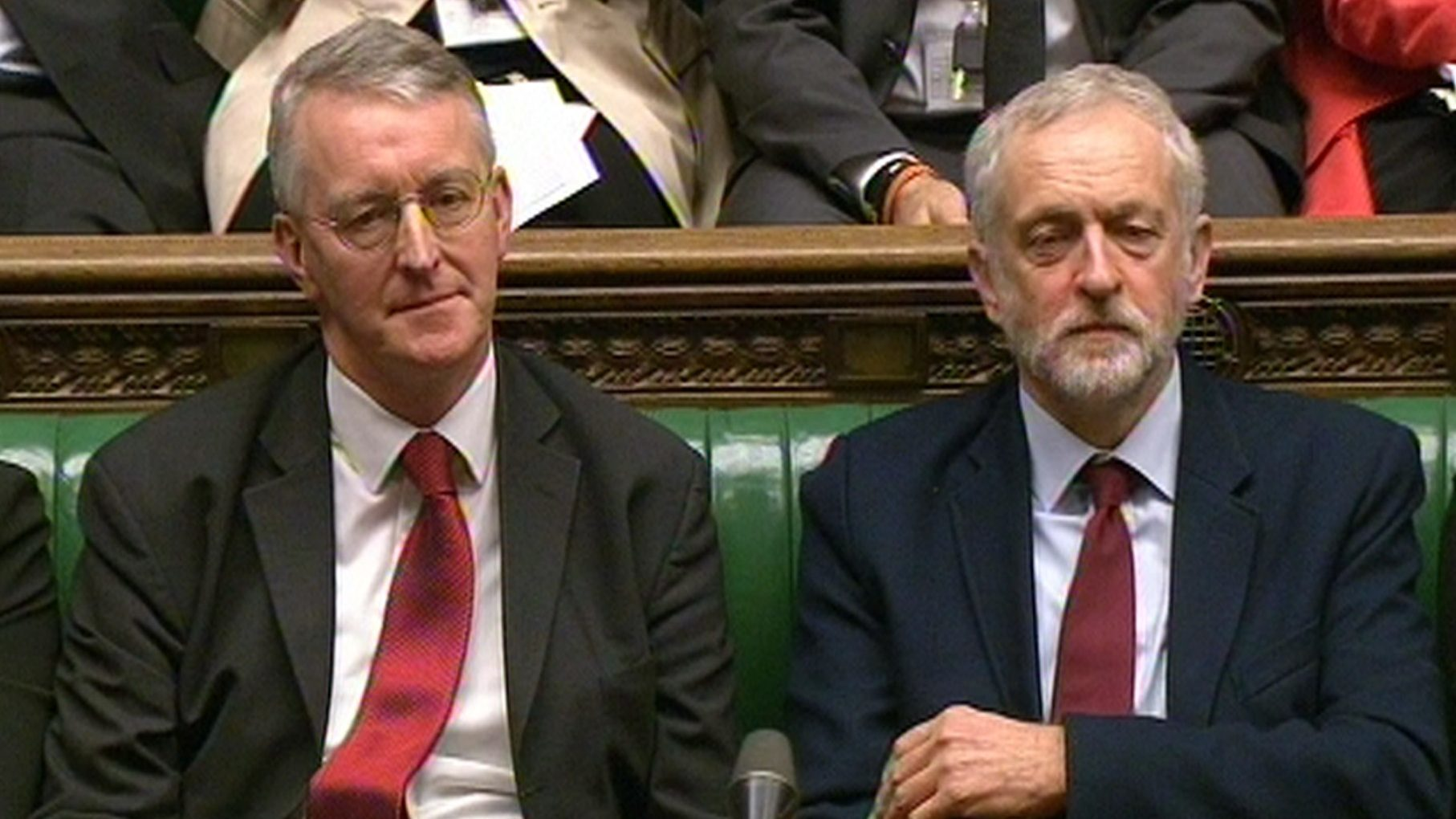 Hilary Benn and Jeremy Corbyn.
