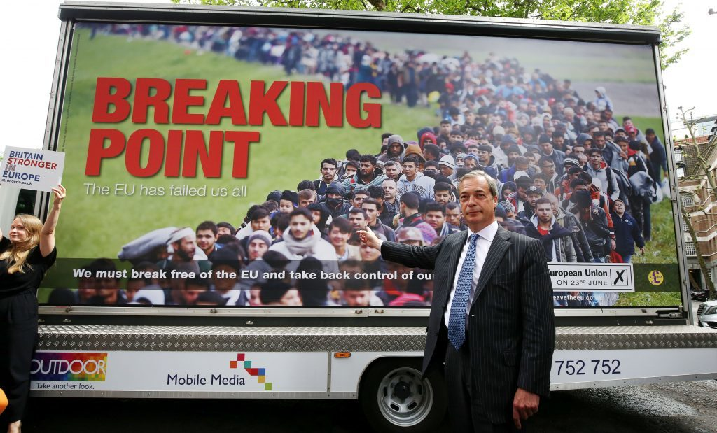 Ukip leader Nigel Farage and his 'breaking point' poster.