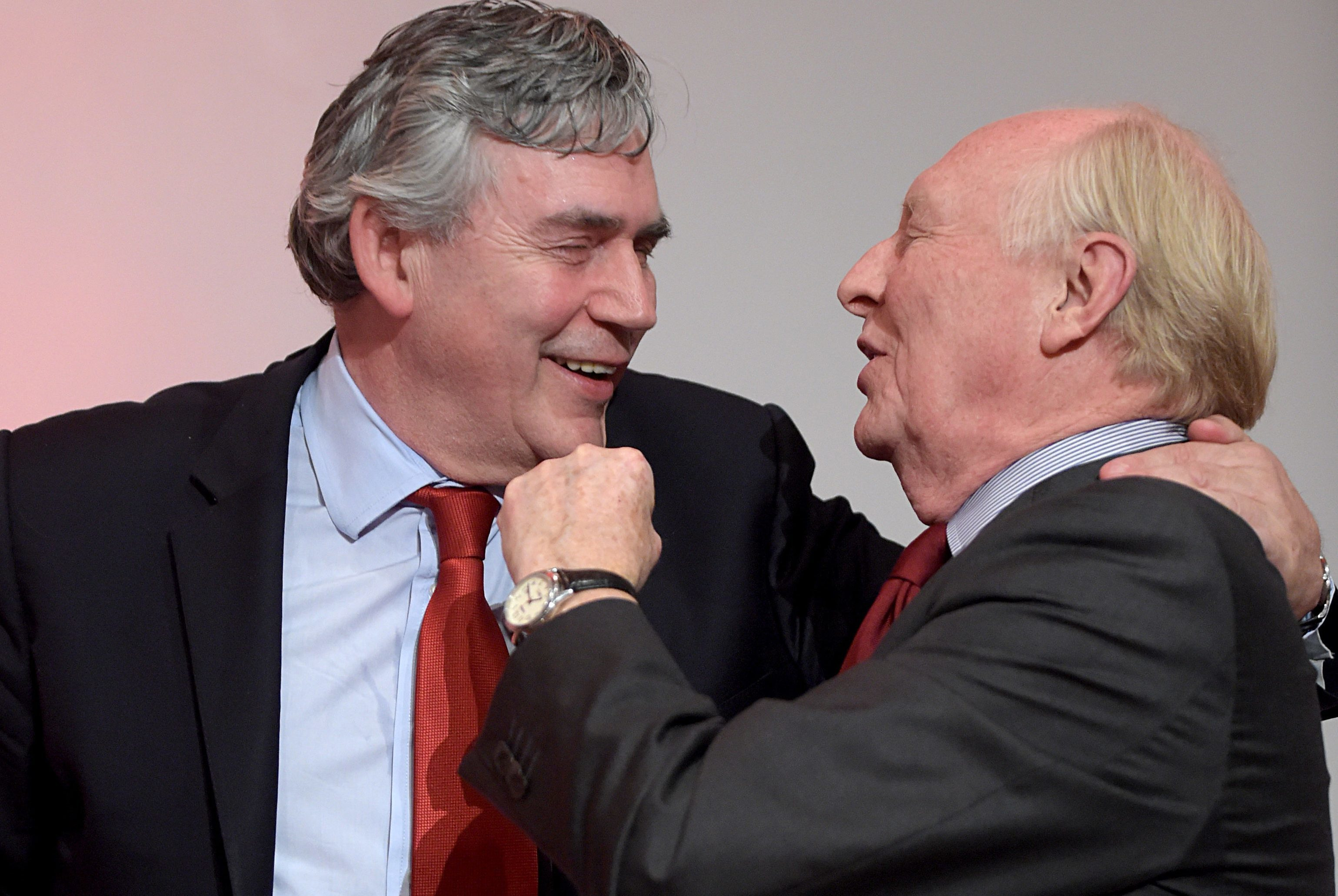Former Prime Minister Gordon Brown with former Labour leader Neil Kinnock, right, during a Labour Party pro EU rally at the Royal Concert Hall in Glasgow.