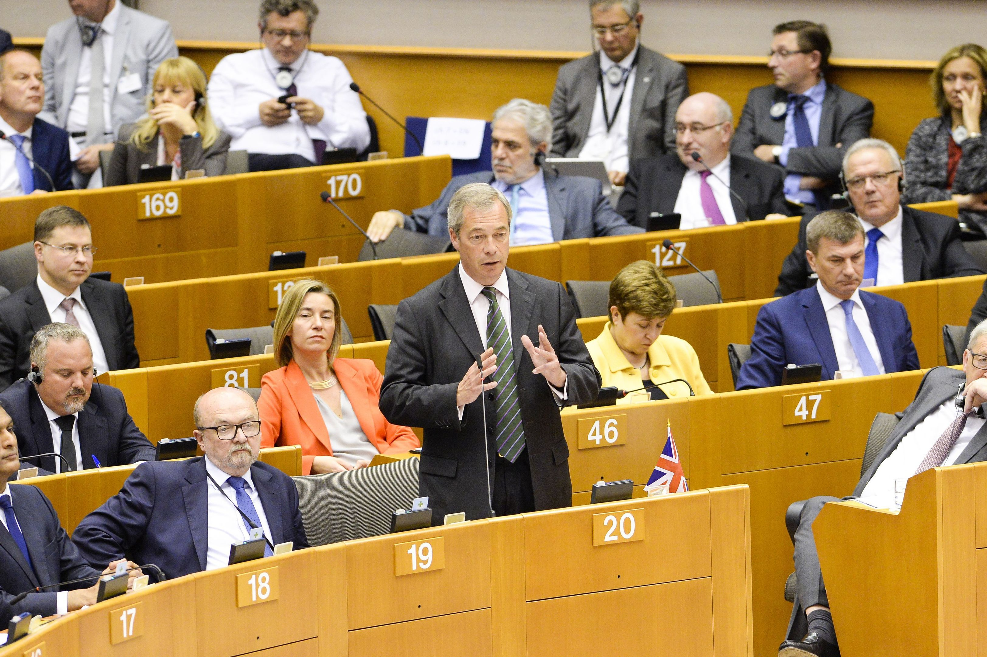 Nigel Farage speaking at the European Parliament in Brussels during an emergency session to discuss the fallout from the Brexit vote.