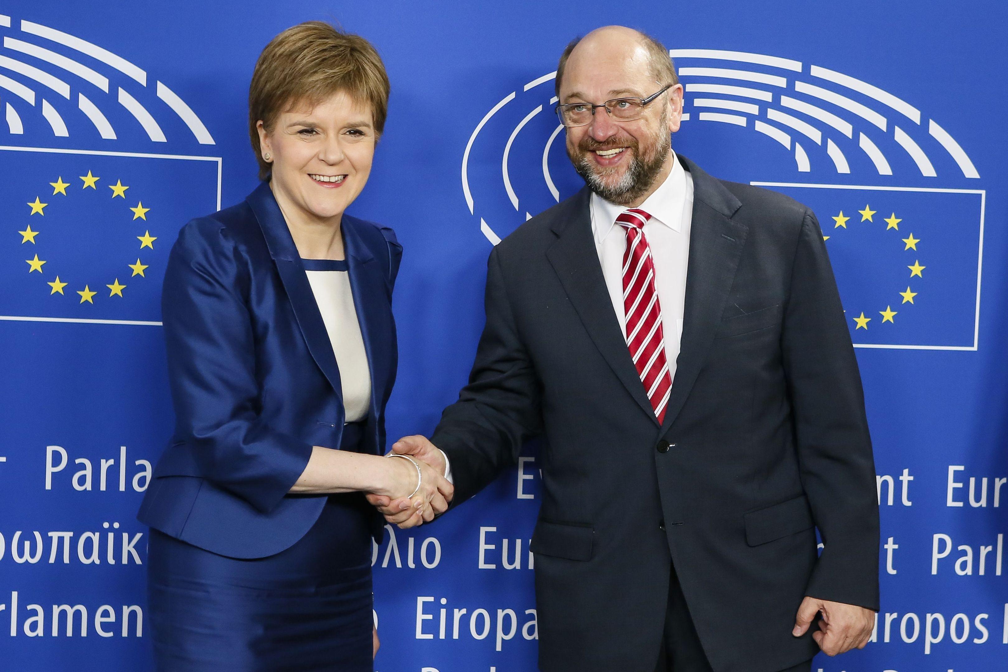 First Minister Nicola Sturgeon with European Parliament President Martin Schulz.