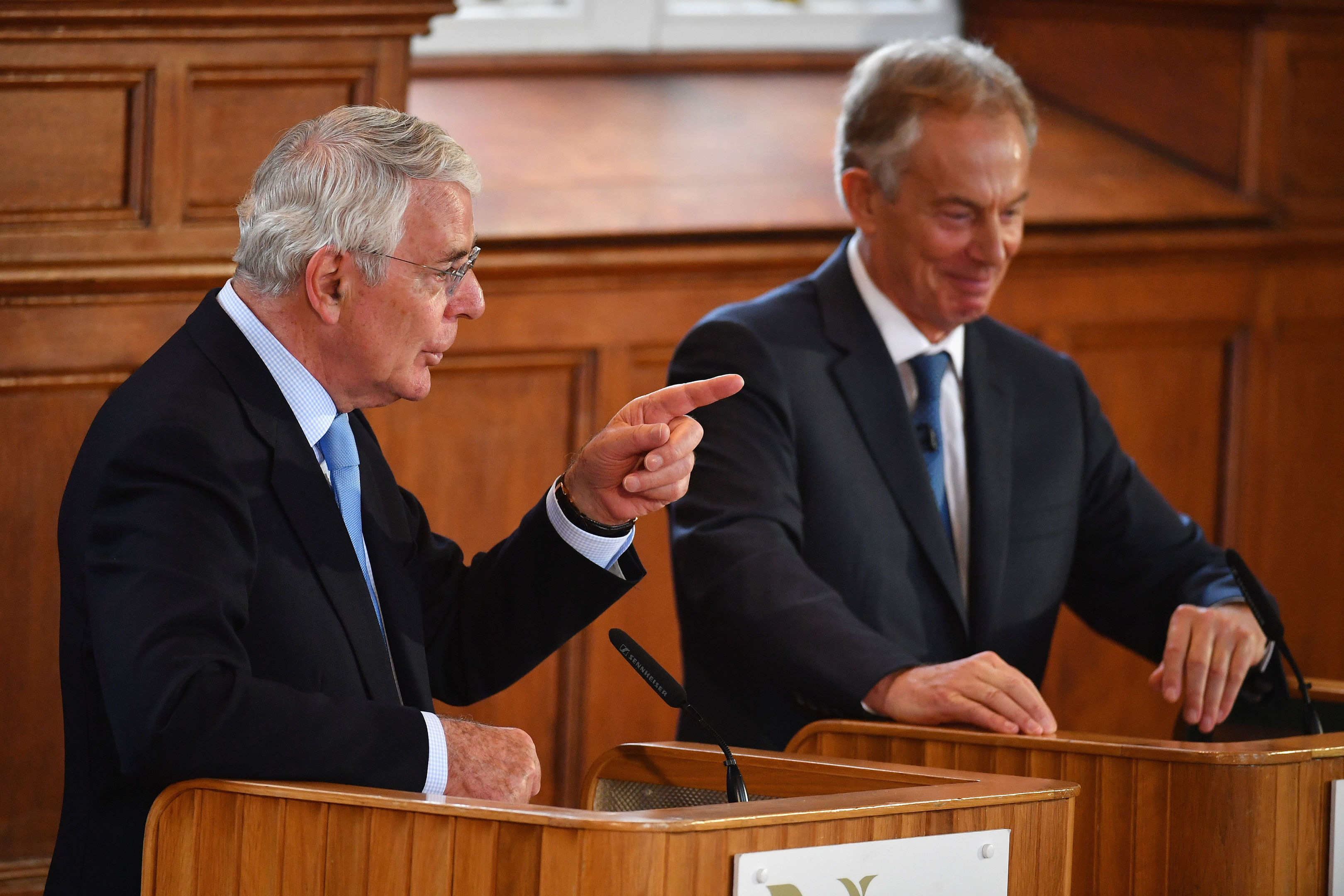 Former prime ministers Sir John Major and Tony Blair share a platform for the Remain campaign event at the University of Ulster.