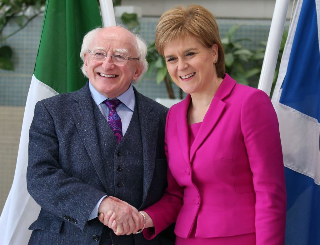 Scotland's First Minister Nicola Sturgeon meeting the President of Ireland, Michael D. Higgins at the Scottish Government building at Atlantic quay in Glasgow, on the first day of his visit to Scotland. PRESS ASSOCIATION Photo. Picture date: Monday June 27, 2016. See PA story POLITICS Higgins. Photo credit should read: Andrew Milligan/PA Wire