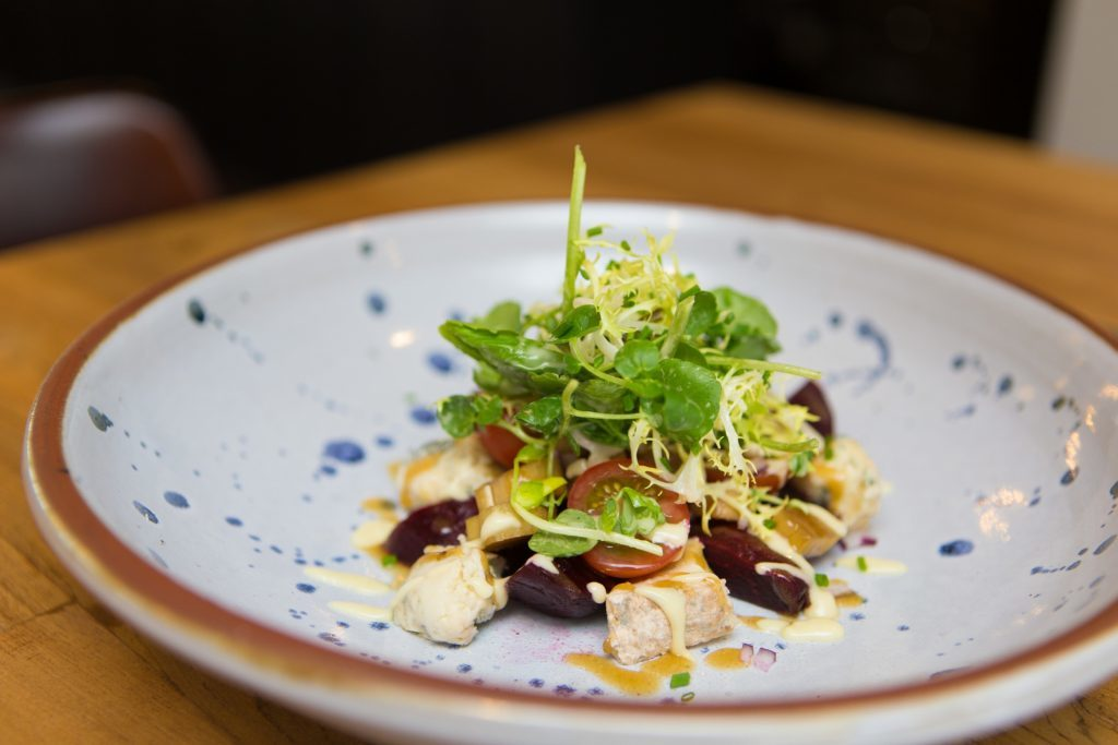 Beetroot and champagne gorgonzola with salad.