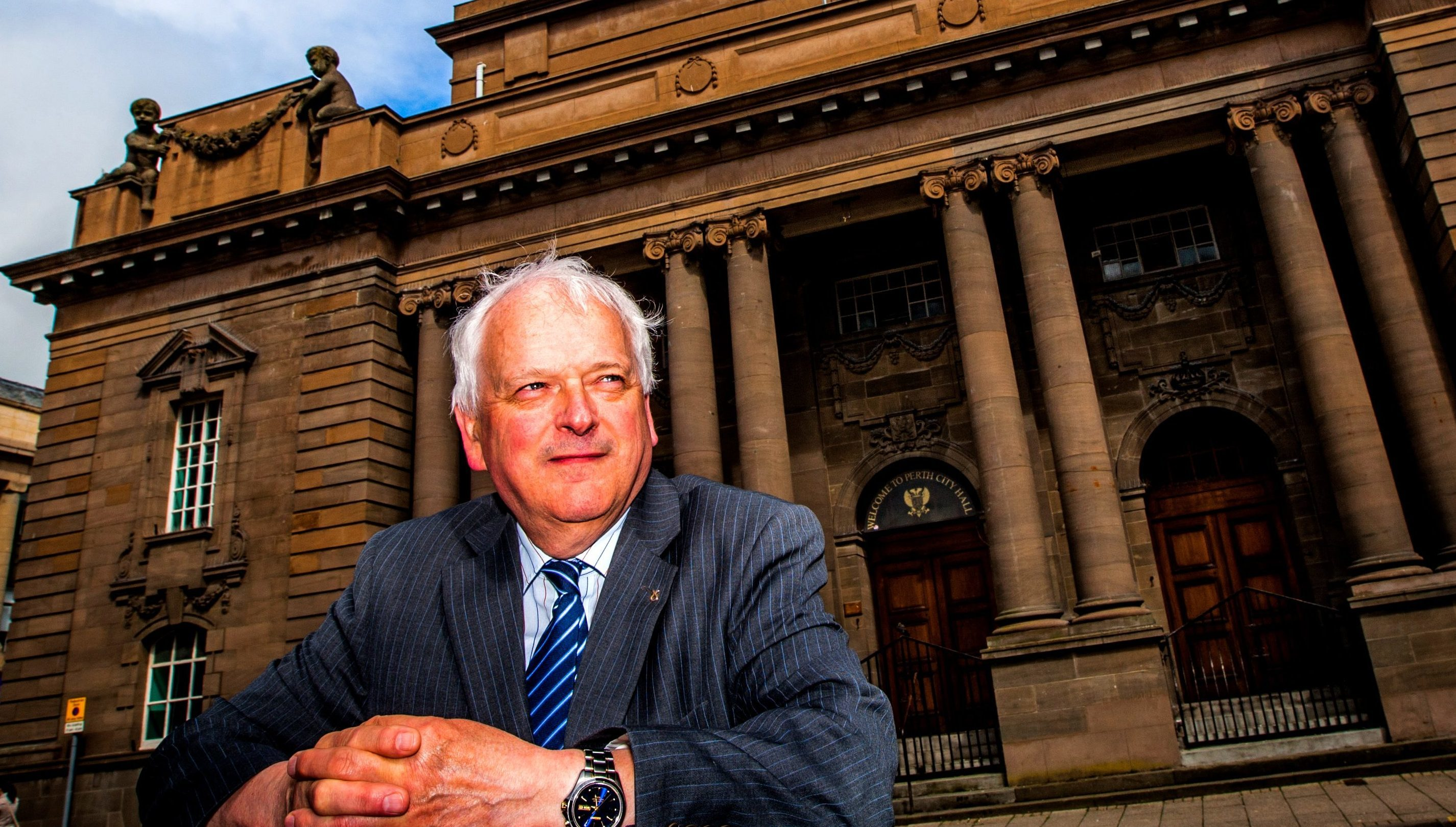 Council leader Ian Miller outside Perth City Hall.