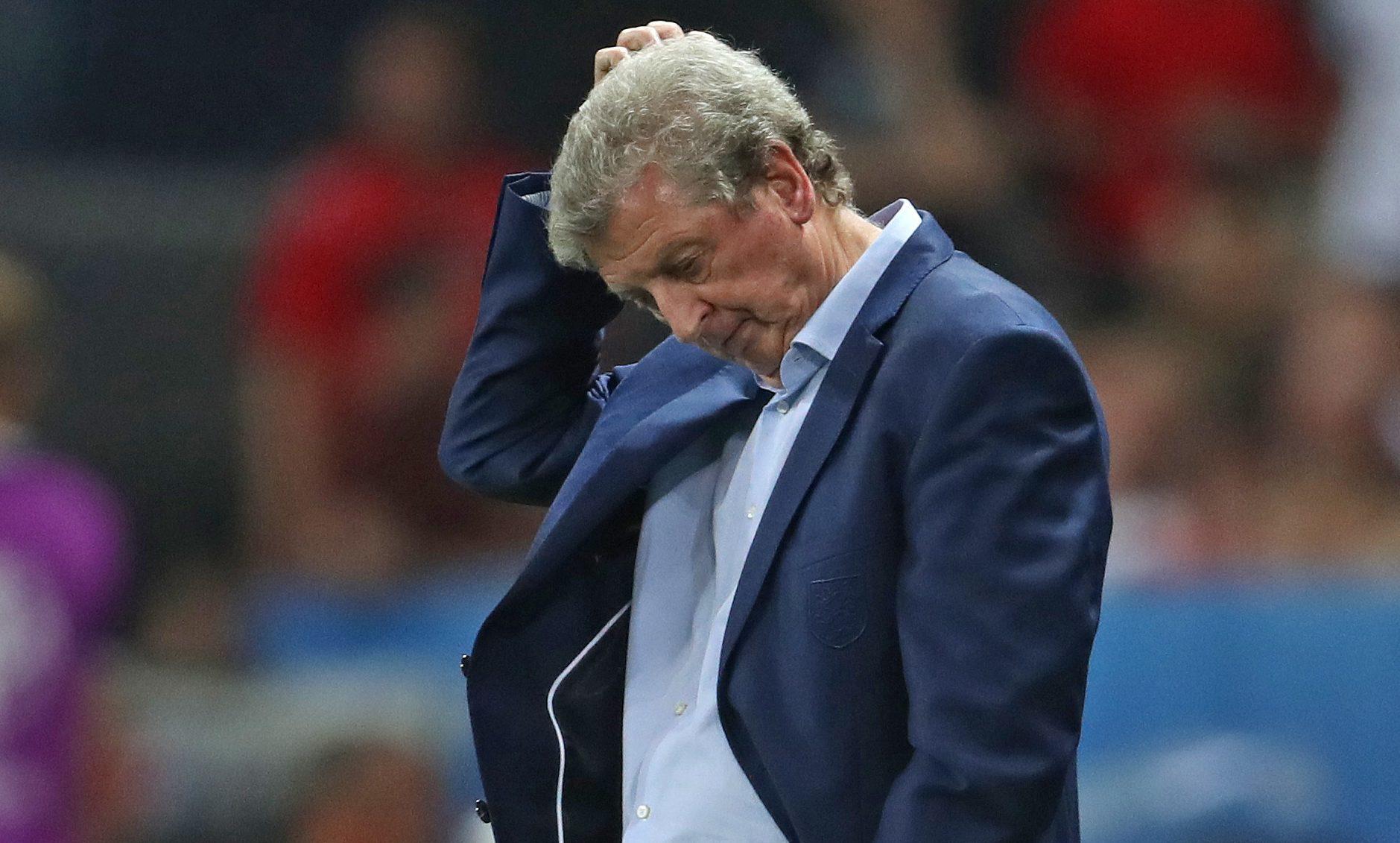 Roy Hodgson looks on as England fall to Iceland.