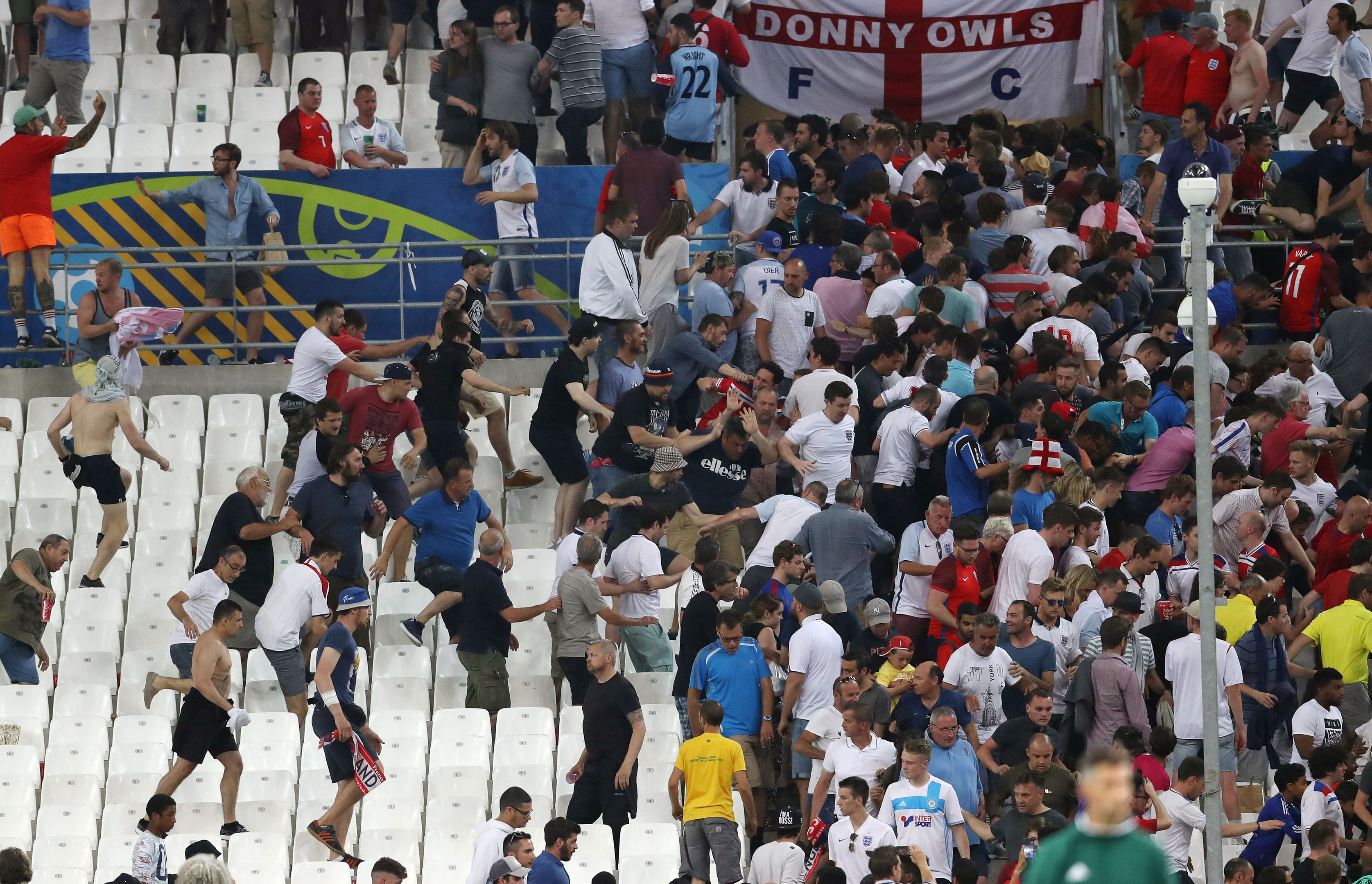 Tempers flare in the stands between Russia and England fans during their Euro 2016 match.