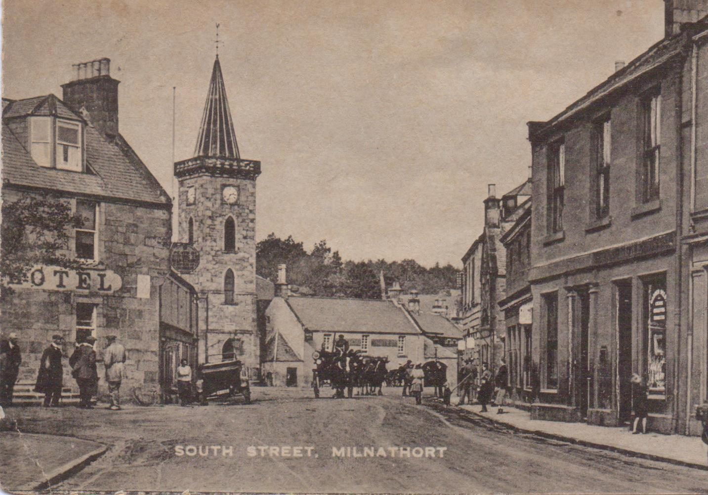 South Street, Milnathort in 1923. The Royal Hotel on the left of the picture and the Commercial Hotel in the centre are no longer hotels .
